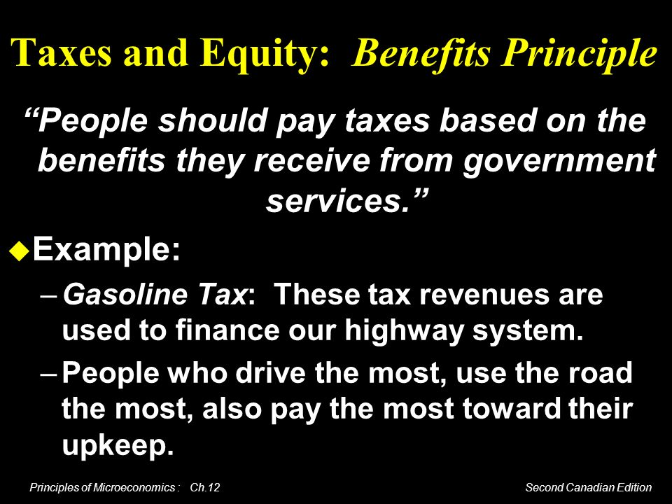 Taxes and Equity: Benefits Principle