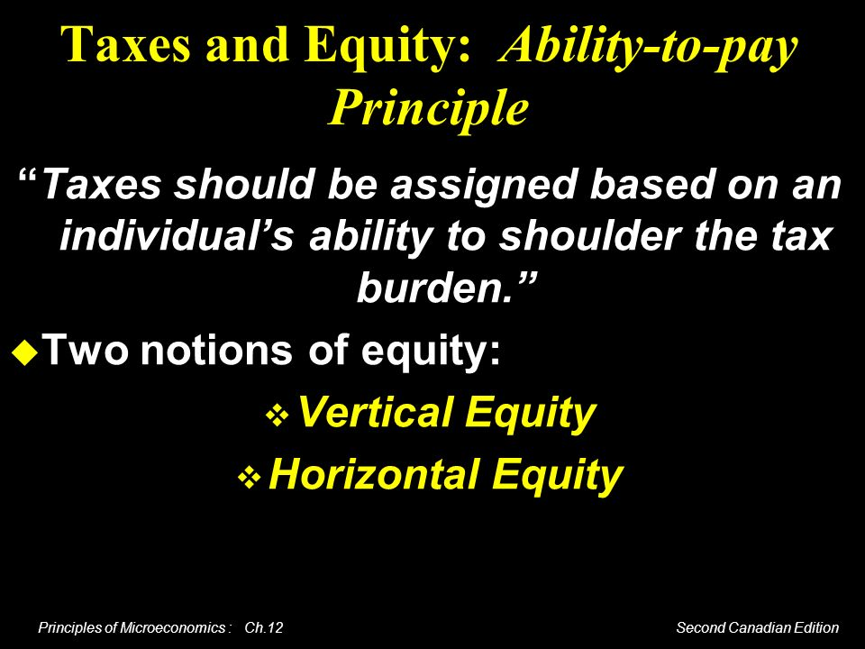 Taxes and Equity: Ability-to-pay Principle