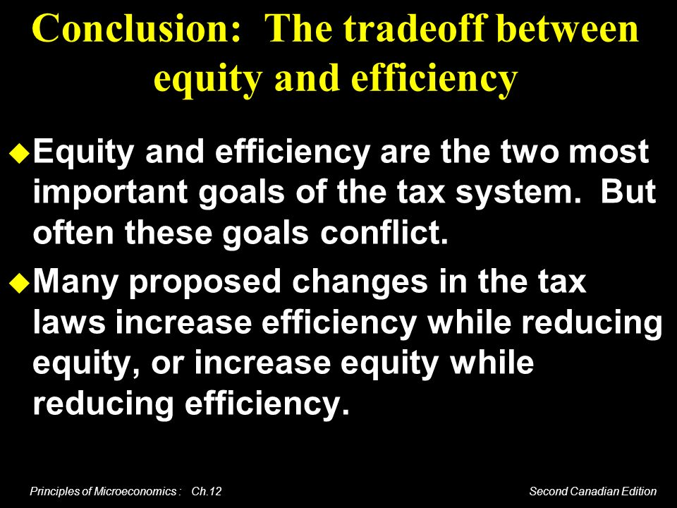 Conclusion: The tradeoff between equity and efficiency