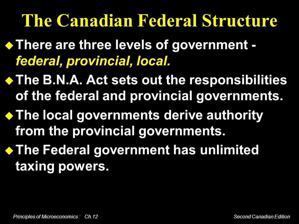 The Canadian Federal Structure