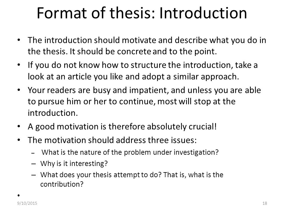 what is introduction in thesis