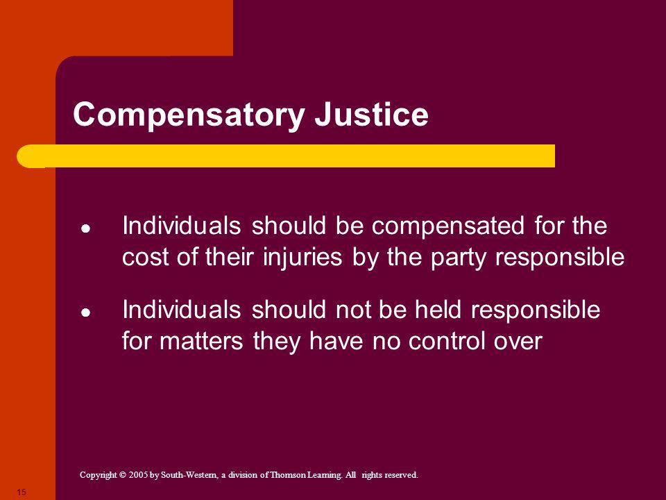 Compensatory Justice Individuals should be compensated for the cost of their injuries by the party responsible.
