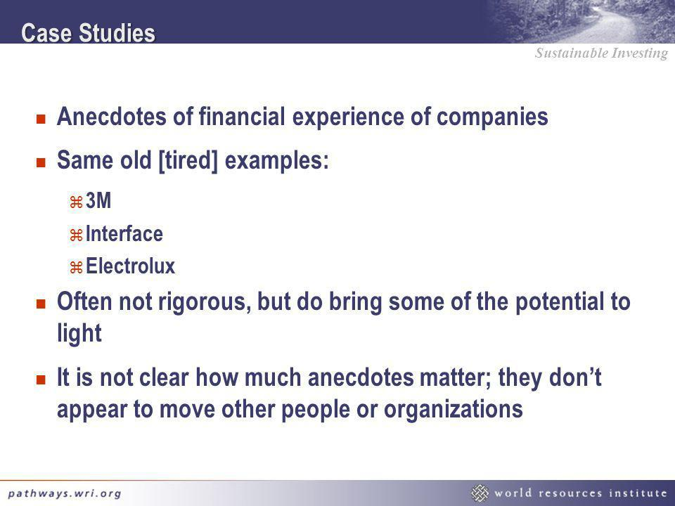 Anecdotes of financial experience of companies
