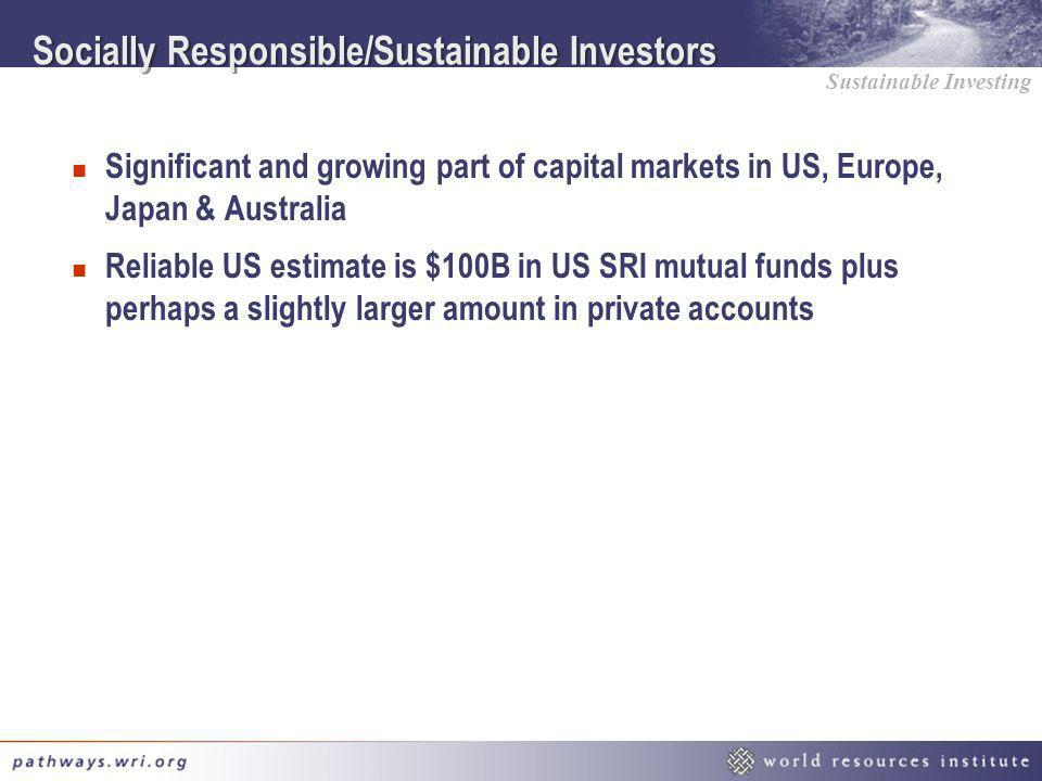 Socially Responsible/Sustainable Investors