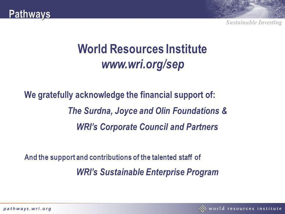 World Resources Institute www.wri.org/sep