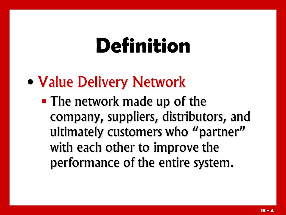 Definition Value Delivery Network