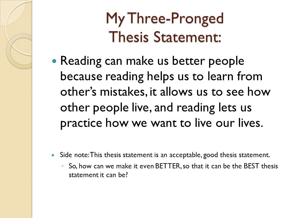 sample 3 prong thesis statements