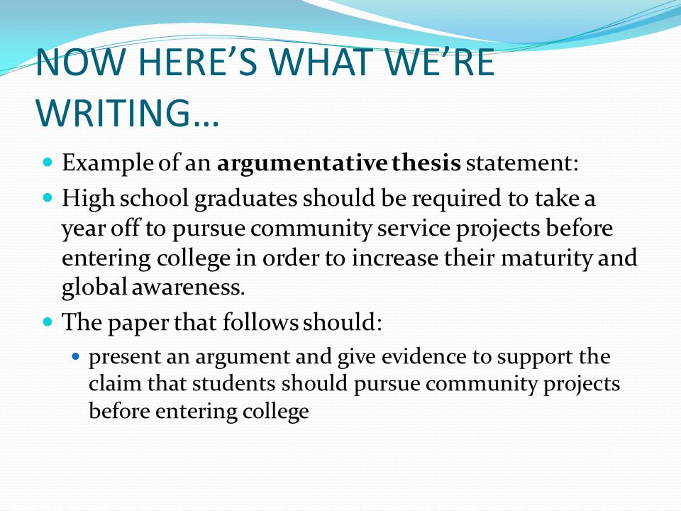 debatable thesis statement examples