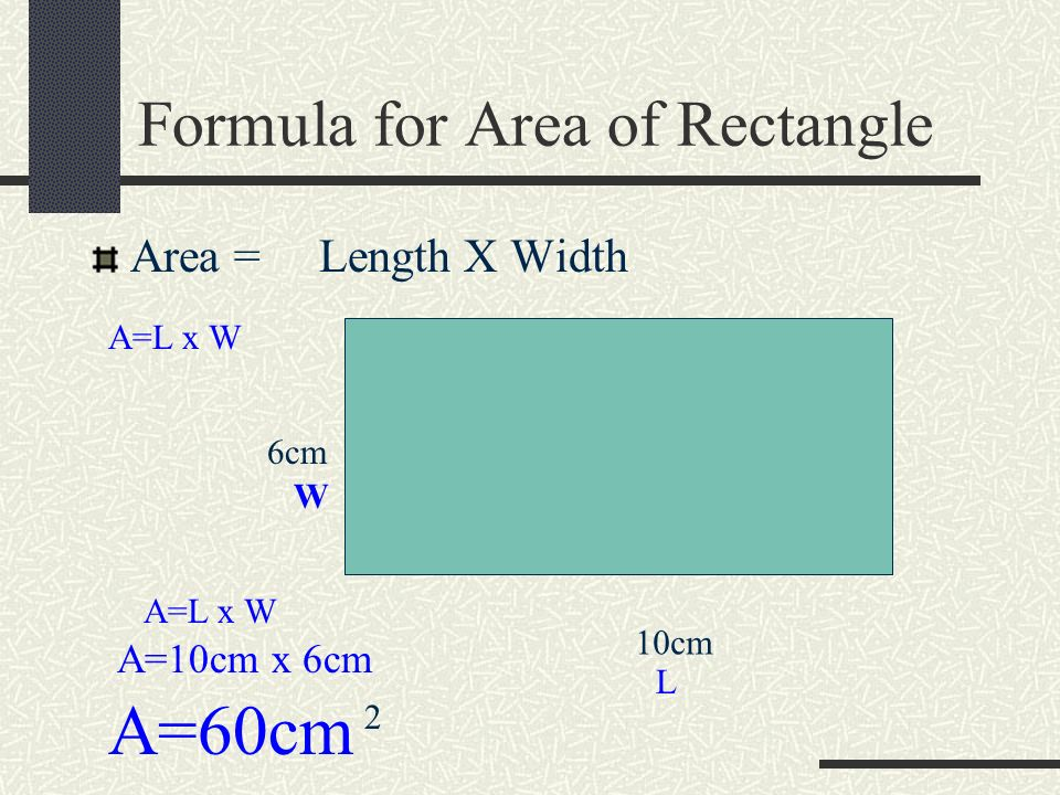 Formula for Area of Rectangle