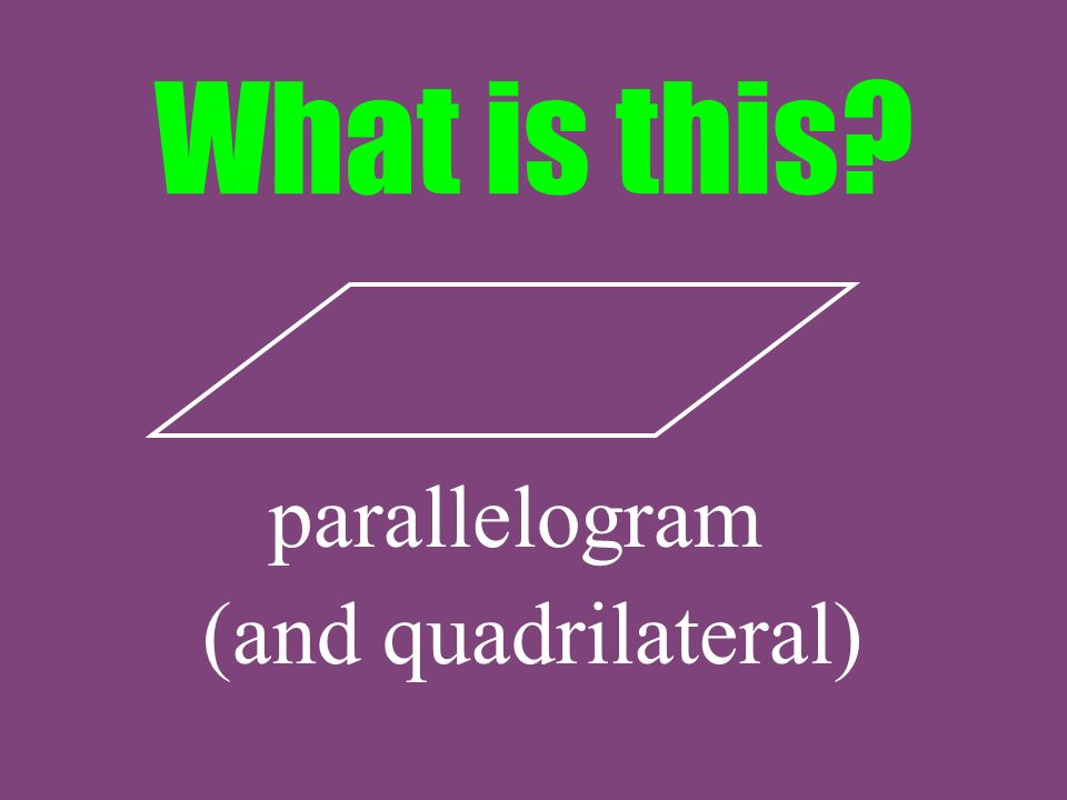 What is this parallelogram (and quadrilateral)