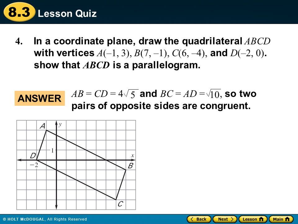 Warm up lesson presentation lesson quiz ppt download in a coordinate plane draw the quadrilateral abcd with vertices ccuart Image collections