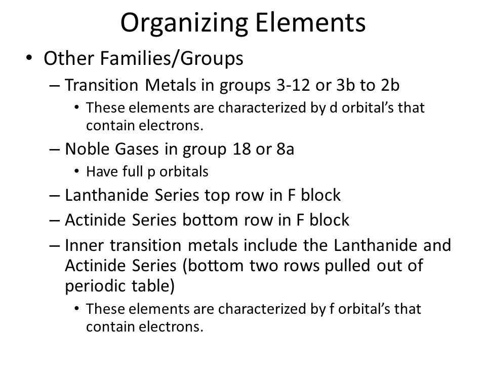 Organizing Elements Other Families/Groups