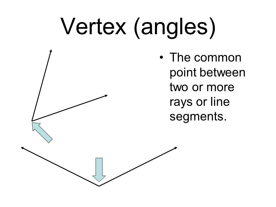 Vertex (angles) The common point between two or more rays or line segments.
