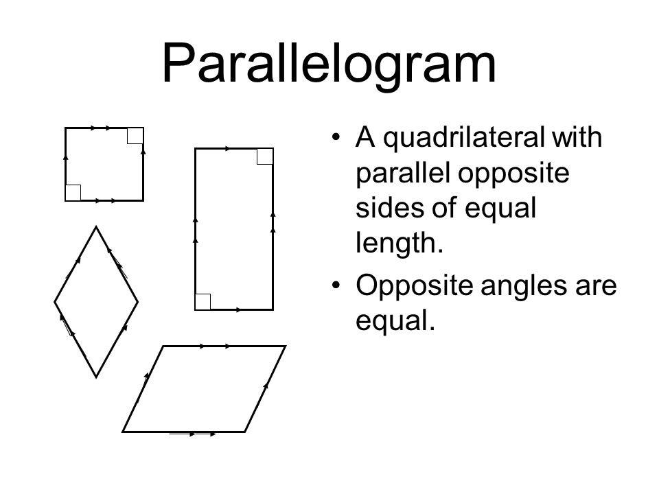 Parallelogram A quadrilateral with parallel opposite sides of equal length.