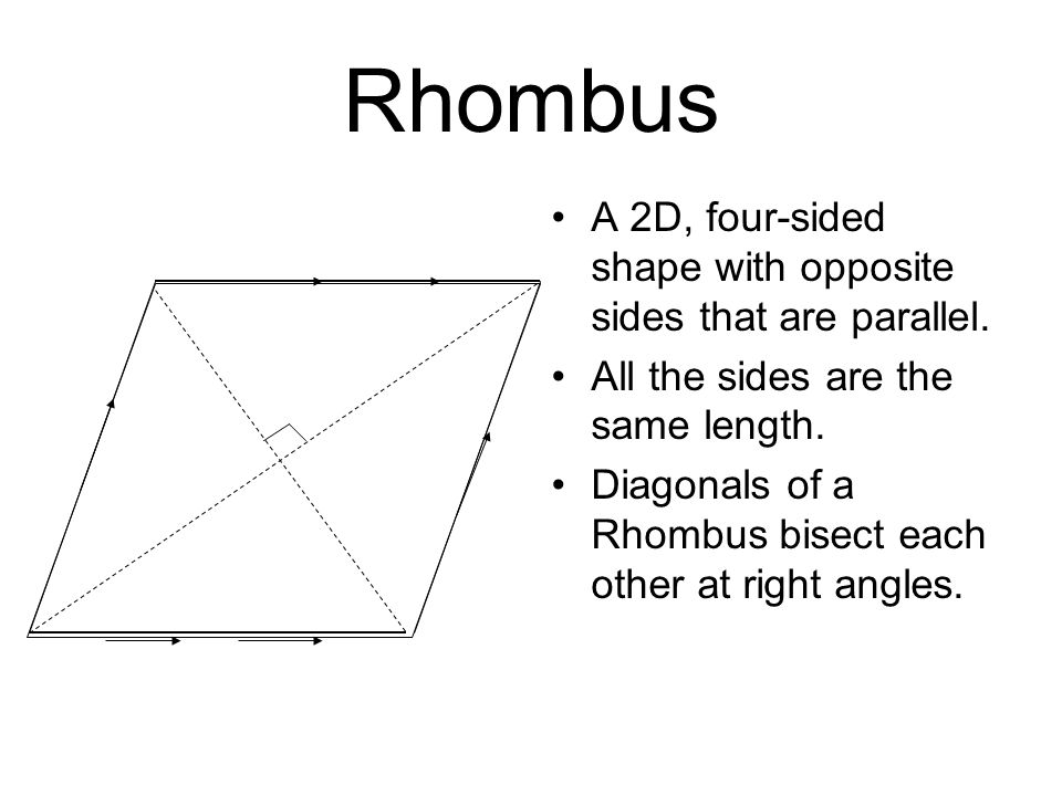 Rhombus A 2D, four-sided shape with opposite sides that are parallel.