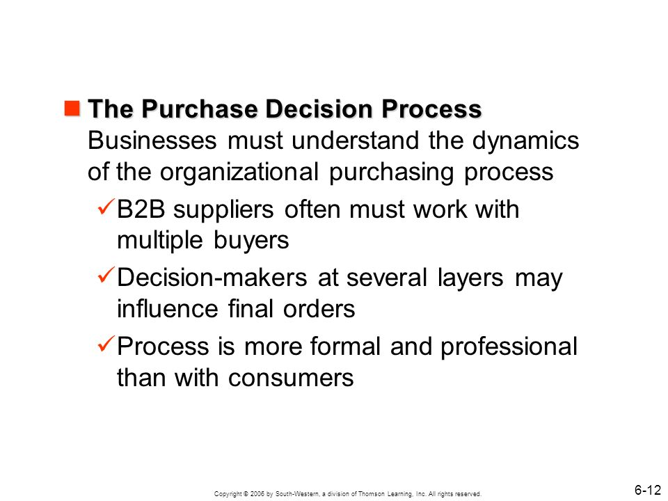 The Purchase Decision Process Businesses must understand the dynamics of the organizational purchasing process