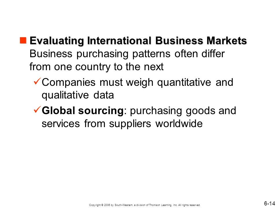Evaluating International Business Markets Business purchasing patterns often differ from one country to the next