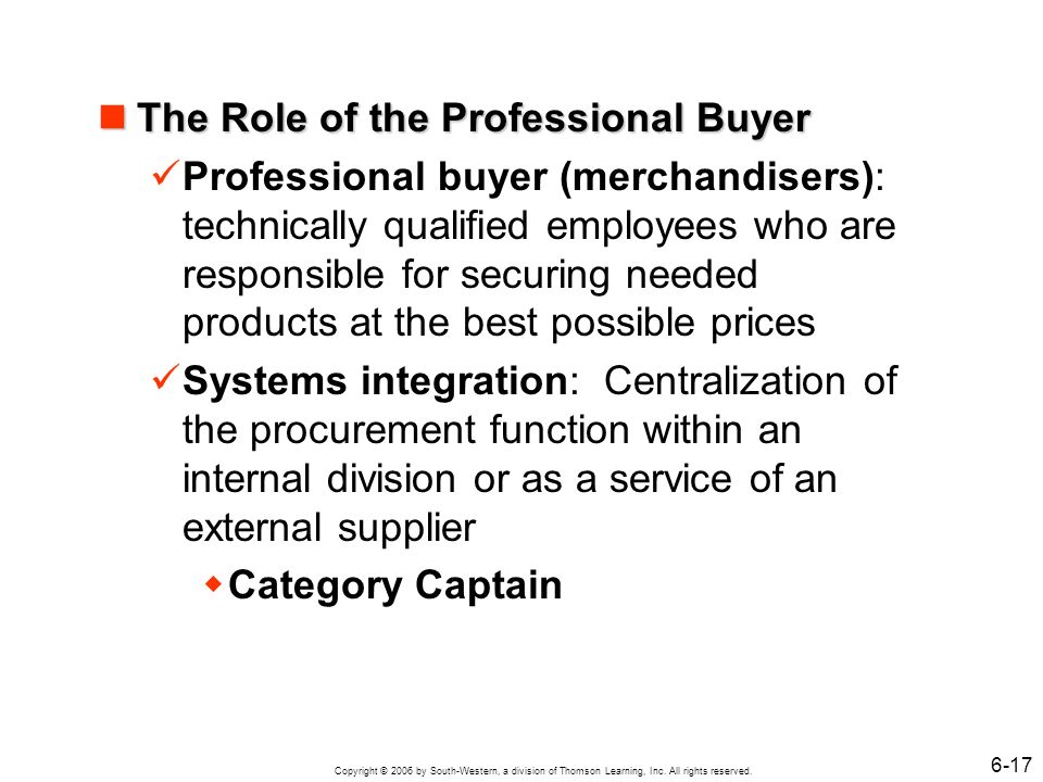 The Role of the Professional Buyer