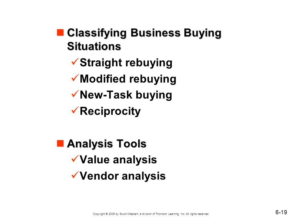Classifying Business Buying Situations