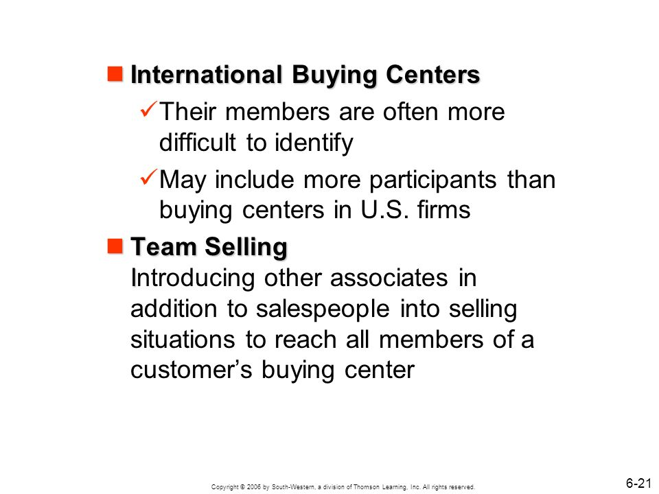 International Buying Centers