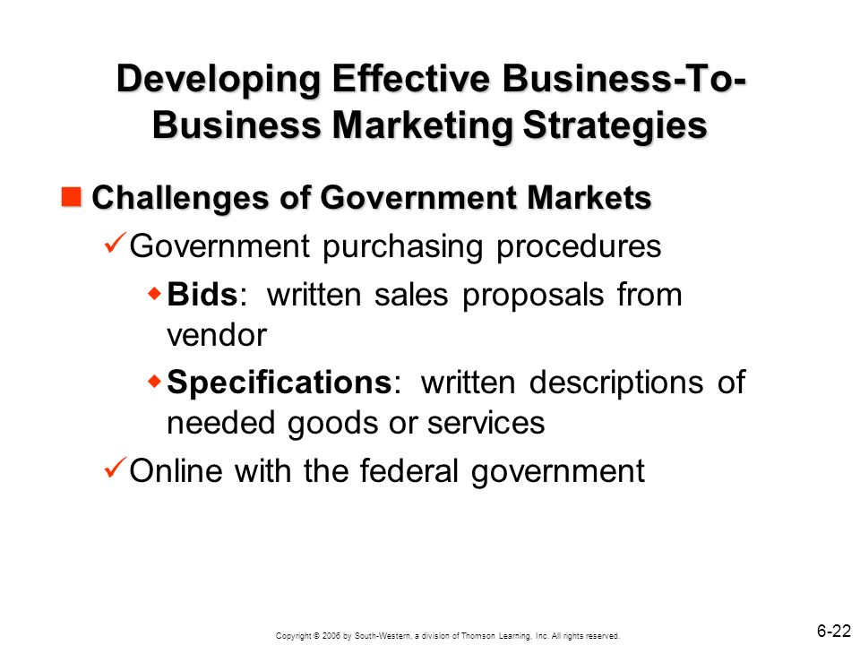 Developing Effective Business-To-Business Marketing Strategies