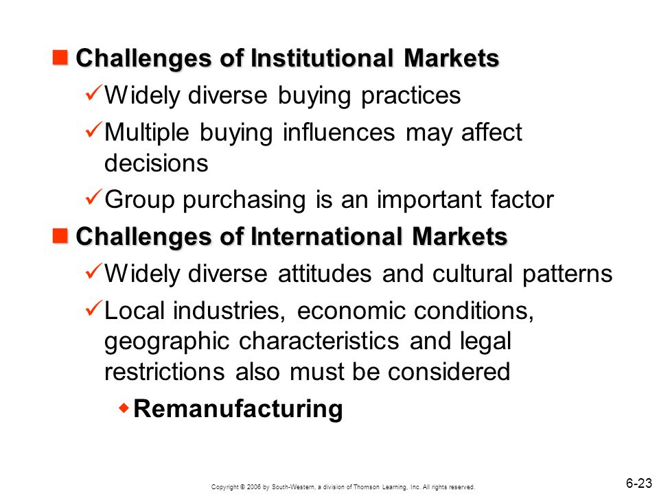 Challenges of Institutional Markets