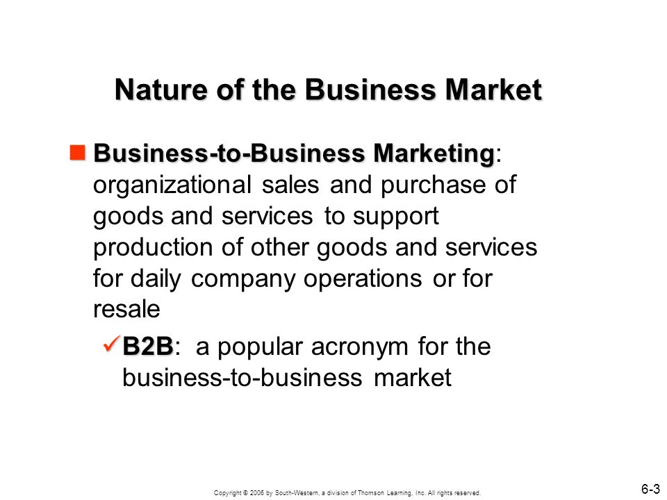 Nature of the Business Market