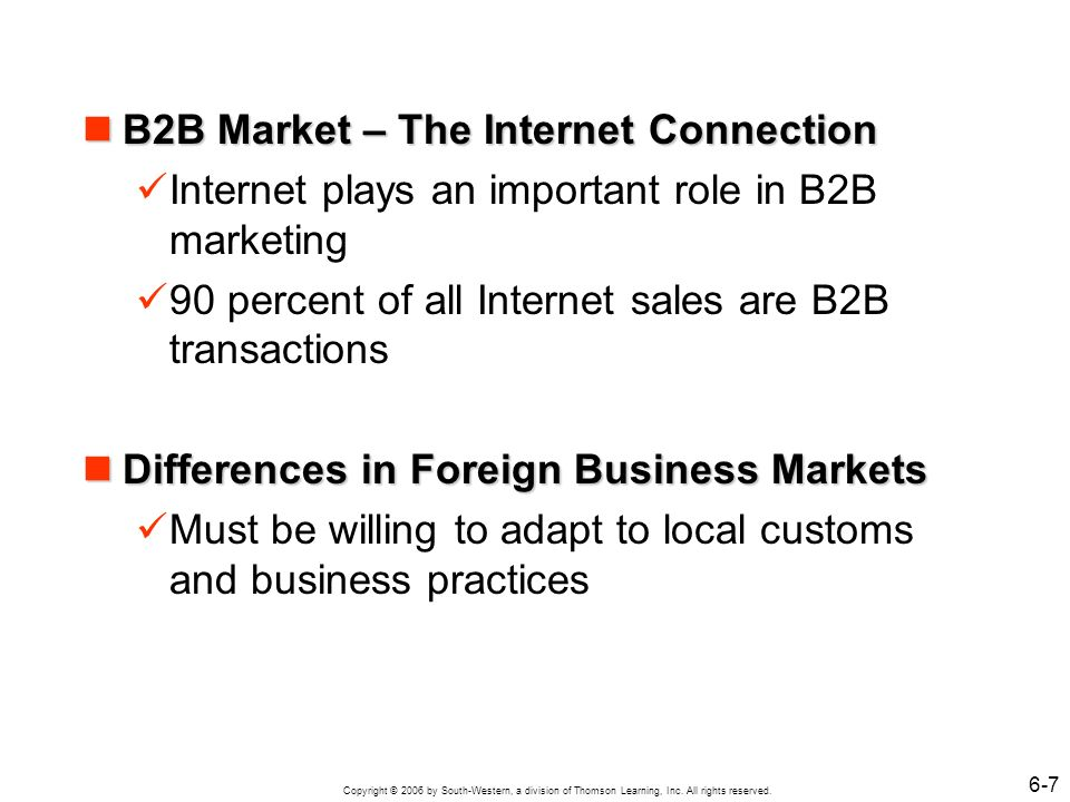 B2B Market – The Internet Connection