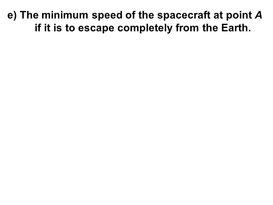 e) The minimum speed of the spacecraft at point A