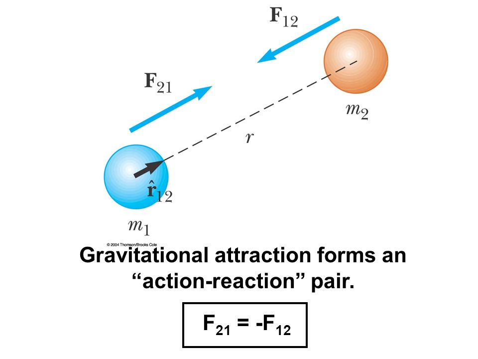 Gravitational attraction forms an action-reaction pair.
