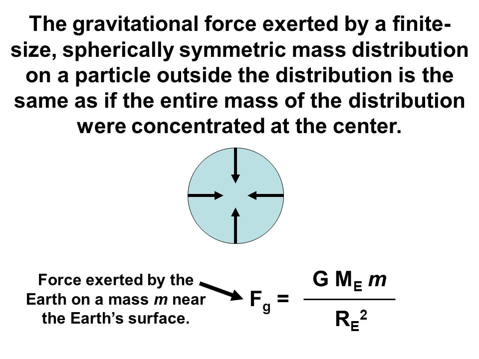 Force exerted by the Earth on a mass m near the Earth's surface.