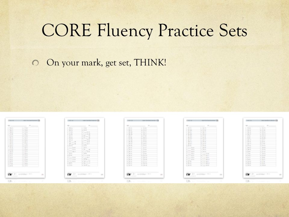CORE Fluency Practice Sets