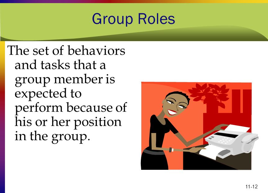 Group Roles The set of behaviors and tasks that a group member is expected to perform because of his or her position in the group.