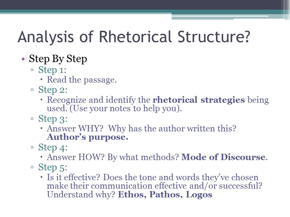 Analysis of Rhetorical Structure