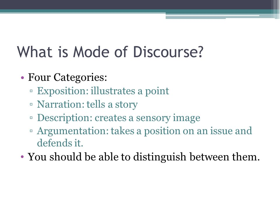 What is Mode of Discourse