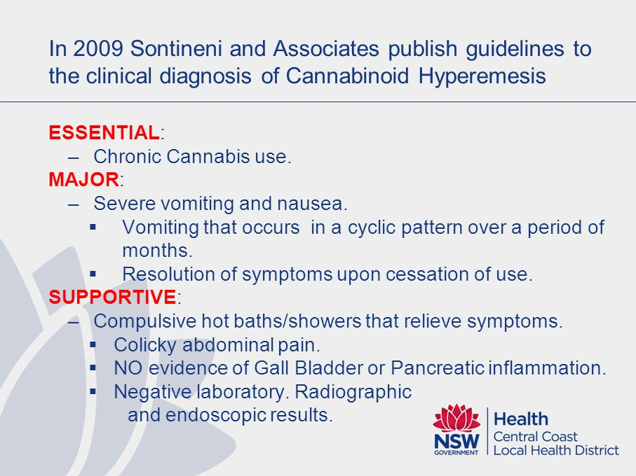 In 2009 Sontineni and Associates publish guidelines to the clinical diagnosis of Cannabinoid Hyperemesis