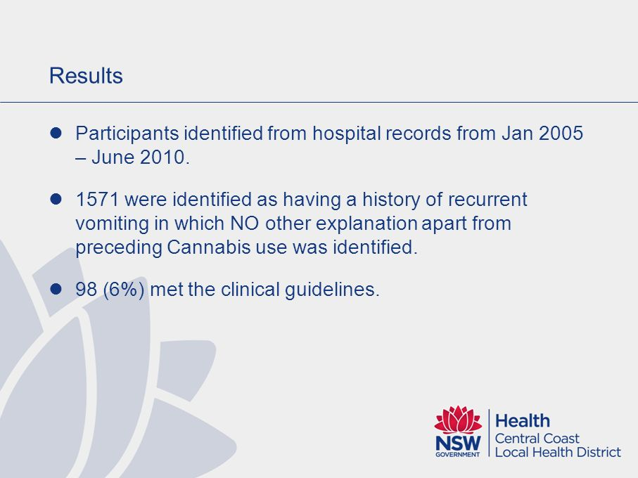 Results Participants identified from hospital records from Jan 2005 – June