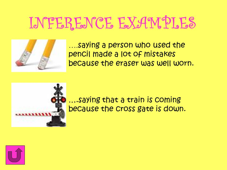 INFERENCE EXAMPLES ….saying a person who used the pencil made a lot of mistakes because the eraser was well worn.