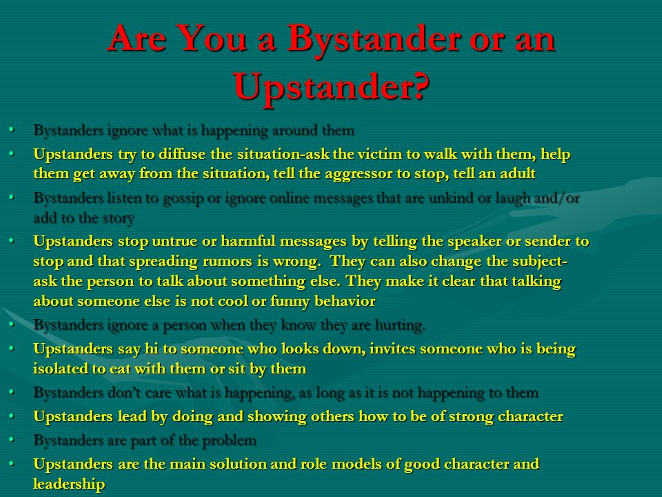 Are You a Bystander or an Upstander