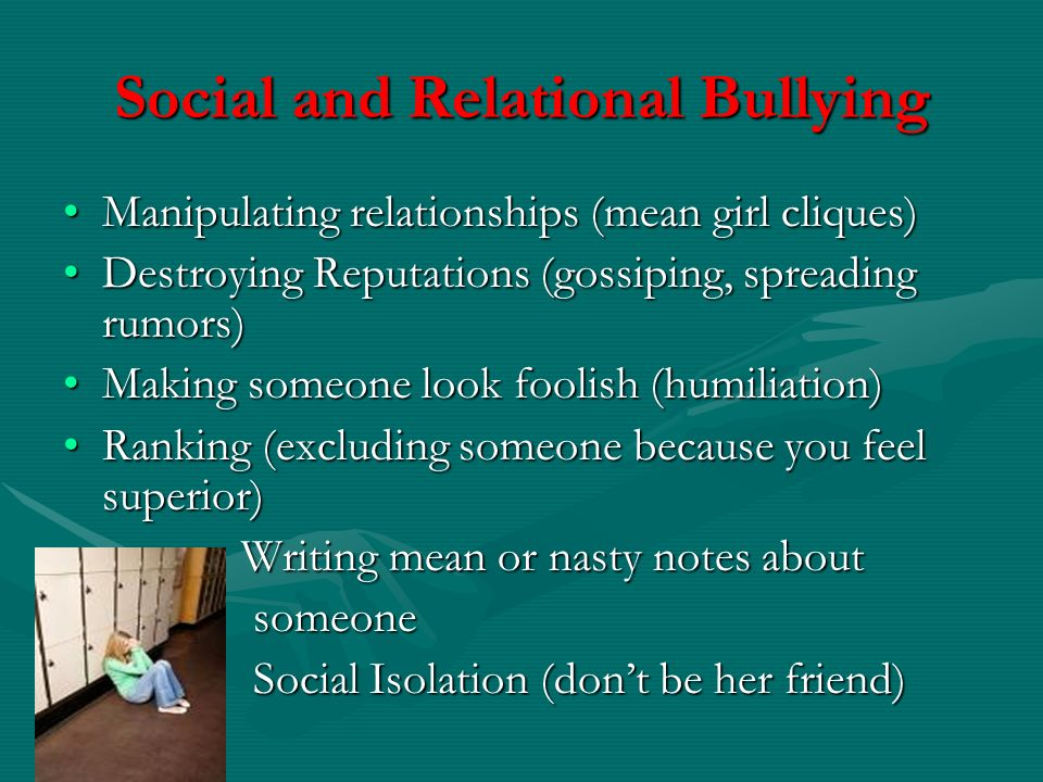Social and Relational Bullying