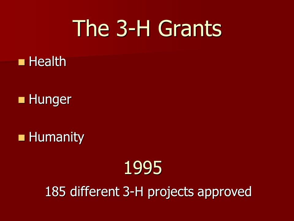The 3-H Grants 1995 Health Hunger Humanity