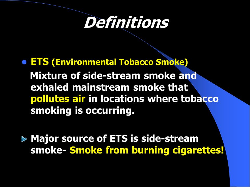 Definitions ETS (Environmental Tobacco Smoke)