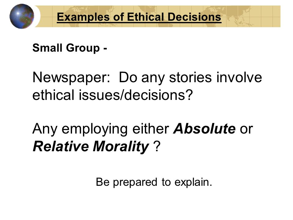 absolute ethics and relative ethics