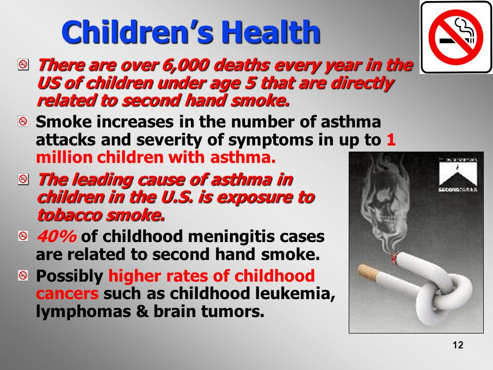 Children's Health There are over 6,000 deaths every year in the US of children under age 5 that are directly related to second hand smoke.