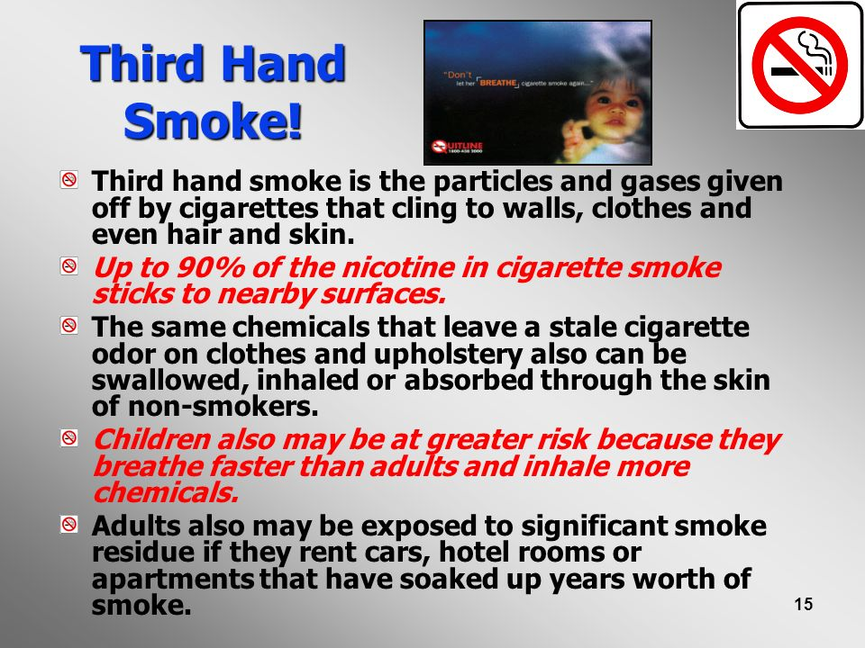 Third Hand Smoke! Third hand smoke is the particles and gases given off by cigarettes that cling to walls, clothes and even hair and skin.