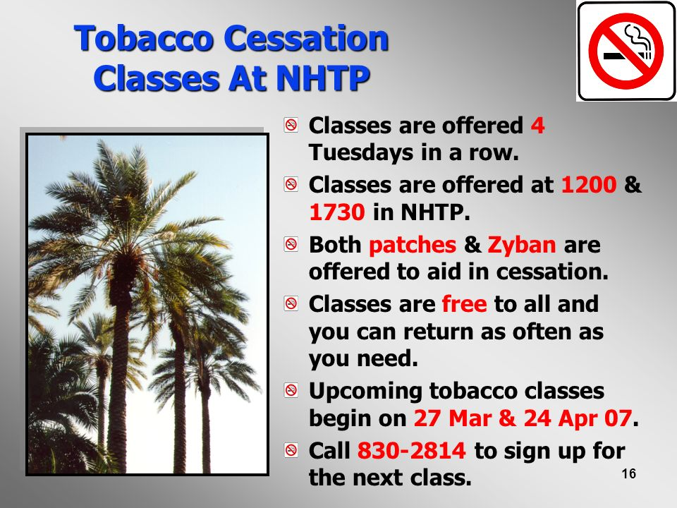 Tobacco Cessation Classes At NHTP
