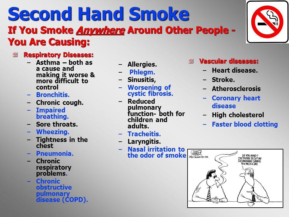 Second Hand Smoke If You Smoke Anywhere Around Other People - You Are Causing: