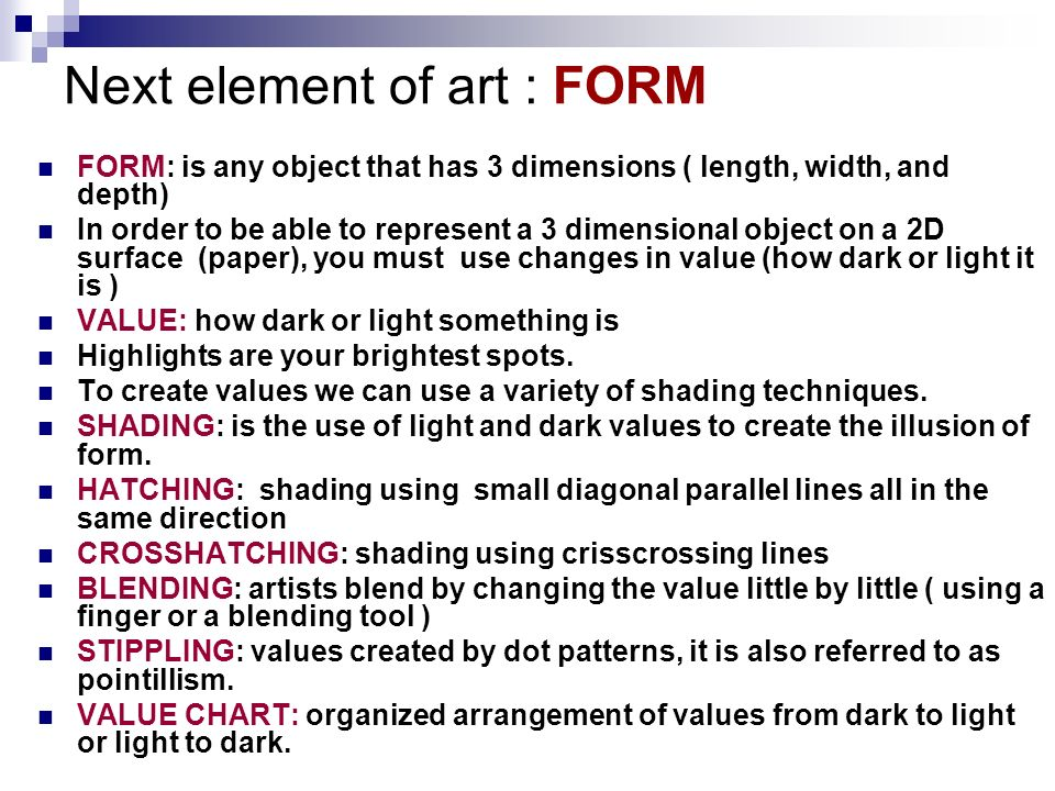 Next element of art : FORM