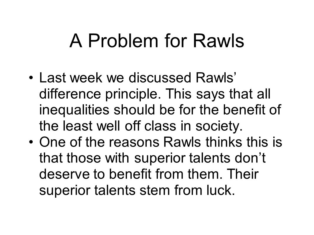 A Problem for Rawls