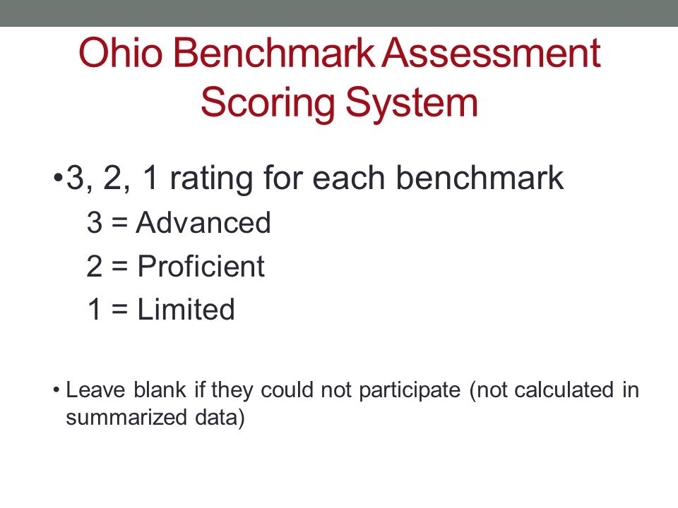 Ohio Benchmark Assessment Scoring System